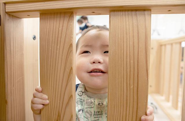 楽しそうに見つめる園児