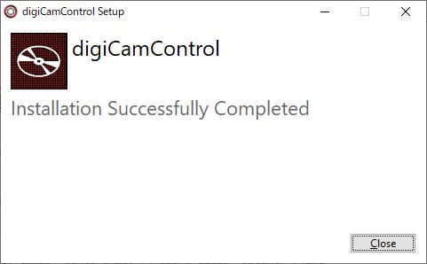 digiCamControlインストール完了画面
