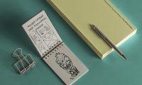 独自デザインを簡単に追加できるリングノートや文房具のモックアップpsd素材